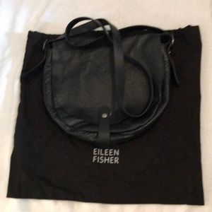 Eileen Fisher Soft Textured Black Leather Bag